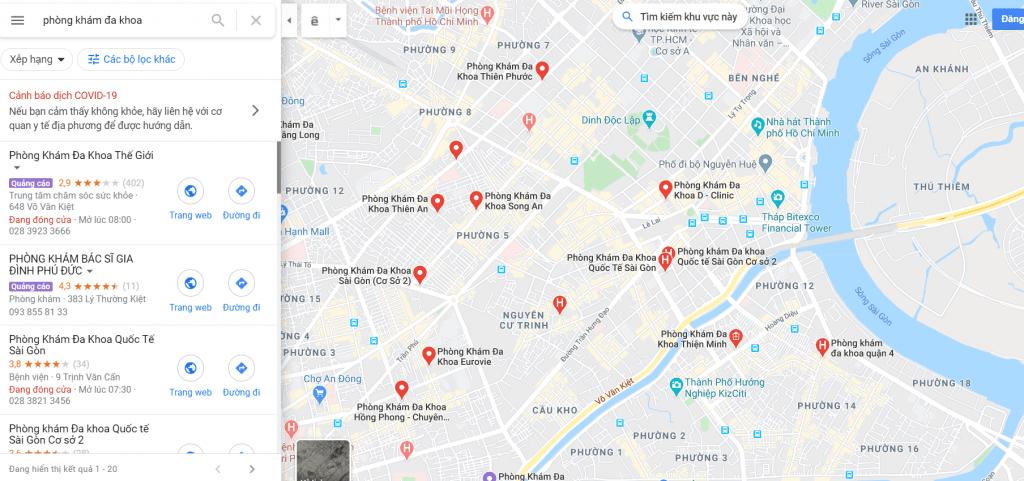 Google map tìm kiếm khách hàng