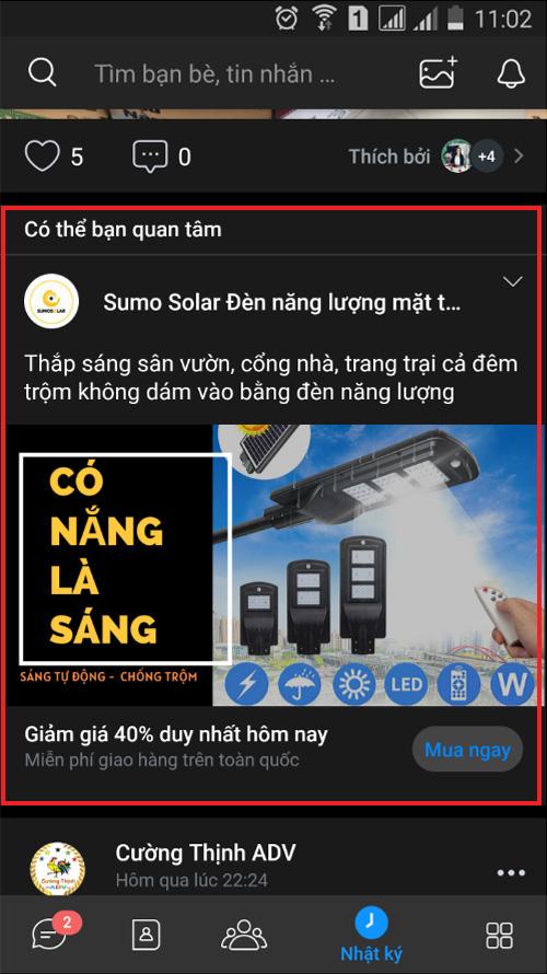 quảng cáo zalo ads trên newfeed