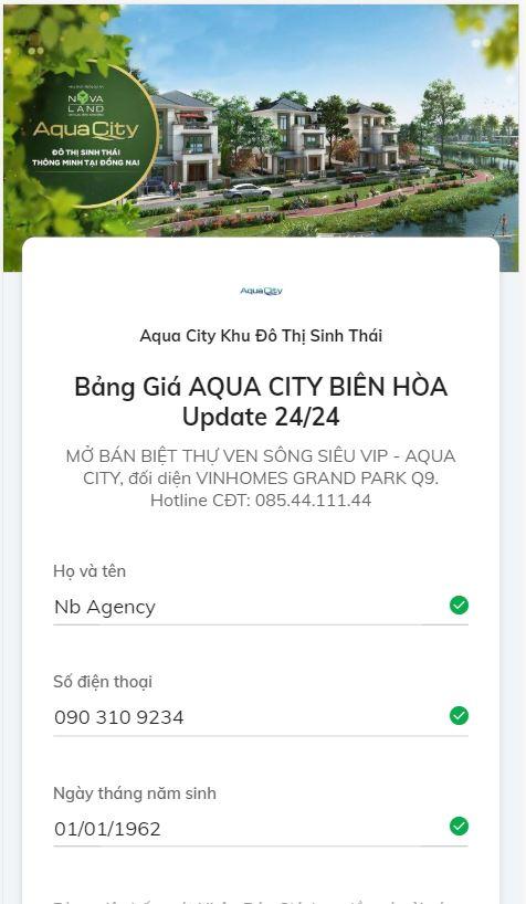 quảng cáo Form Zalo Aqua City