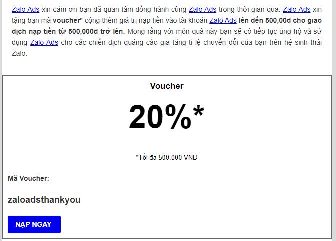 voucher Zalo ads